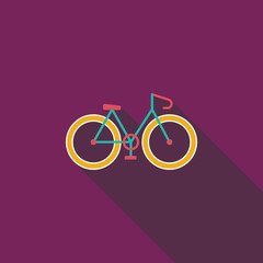Bicycle flat icon with long shadow
