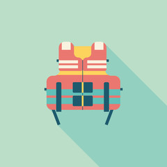 life vest flat icon with long shadow