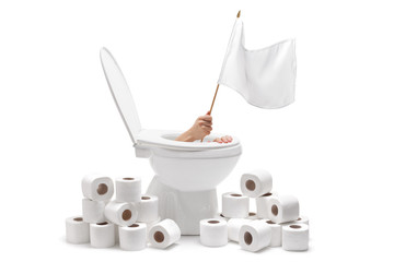 Hand arising from a toilet and holding a white flag