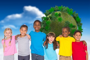 Composite image of elementary pupils smiling