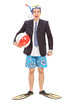 Businessman with a diving equipment
