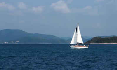 парусная яхта движется на фоне островов