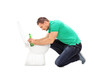 Drunk man leaning on a toilet