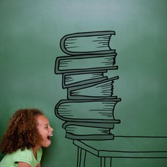 Composite image of stack of books doodle