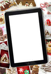 Winter holidays desert photography and tablet