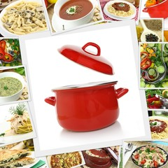 Collage with various dishes and red pot
