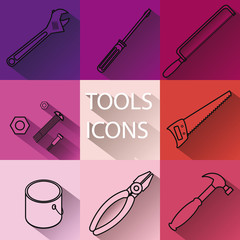 Set of tools icons with long shadows
