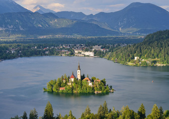 Panoramic view of lake Bled with the small island, Slovenia