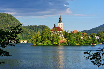 Scenic view of famous lake Bled in Slovenia