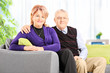 Elderly couple posing seated on a sofa at home