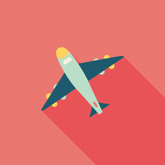 airplane flat icon with long shadow