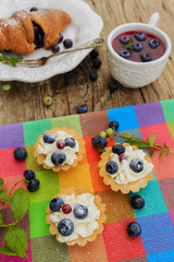 Fresh blueberries tarts