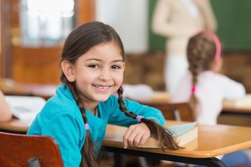 Cute pupil smiling at camera at her desk in classroom