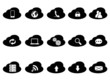 black cloud icons set