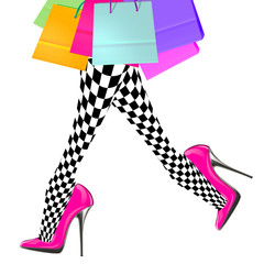 woman legs with pink high heel shoes and shopping bags