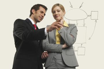 Geschäftsleute und Frauen diskutieren,Männer zeigen .