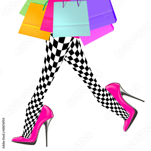 Leinwanddruck Bild woman legs with pink high heel shoes and shopping bags