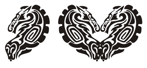 Tribal horse and snake symbol, heart of a horse