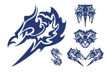 Darkly blue head of the harpy and symbols of these heads