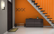 Hallway with orange wall and stair