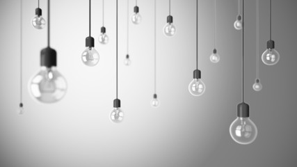 Light bulbs on grey background