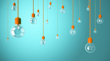 Light bulbs on blue background