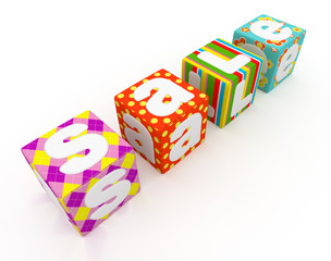 Sale word on colorful fabric cubes on white background 2