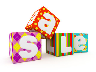 Sale word on colorful fabric cubes on white background 3
