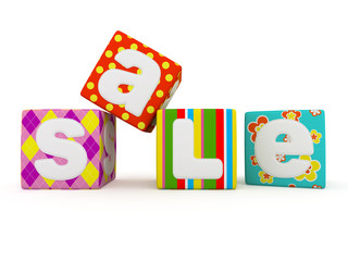 Sale word on colorful fabric cubes on white background 4