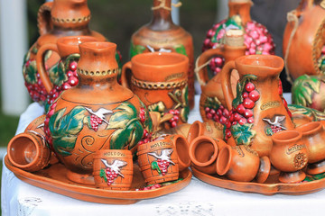 Traditional ceramic jars for wine