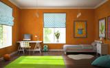 Part of interior modern childroom with orange walls
