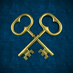 Two golden key isolated on blue background