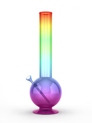 Multicolored bong isolated on white background