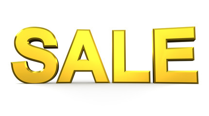 Sale word gold on white background