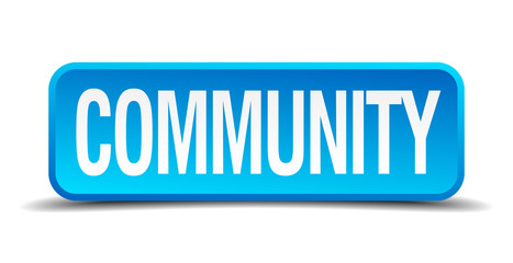 community blue 3d realistic square isolated button
