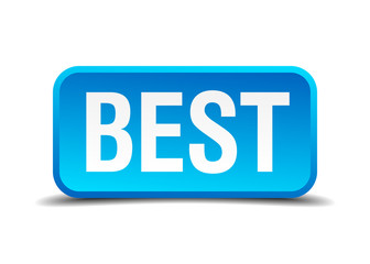 best blue 3d realistic square isolated button