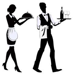 Silhouette waiters