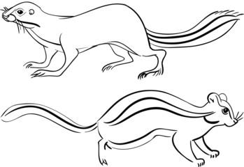 Набор контурных символов бурундук и суслик