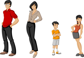 Happy cartoon family. Asian people.