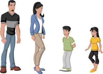 Happy cartoon latin family. Spanish people.