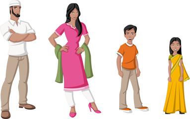 Happy cartoon family. Indian people.