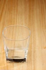 empty glass drink on wood desk