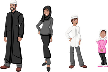 Happy cartoon family. Muslim people.
