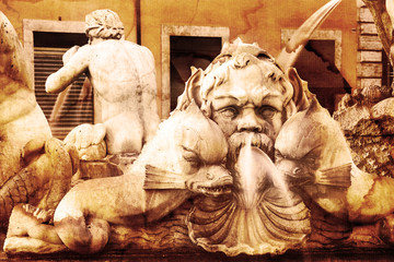 Architectural details of fontana del Moro. Roma. Italy.