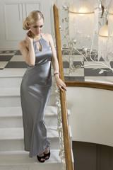 pretty elegant blond on stair