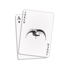 Joker and spades ace