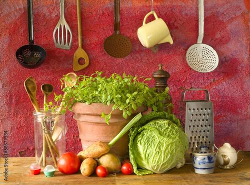 food ingredients and vintage kitchen utensils - 68679584