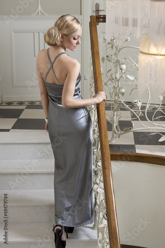 canvas print picture aristocratic blond woman in evening