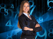 Businesswoman in a suit. Blue glowing figures