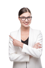 Beautiful business woman with glasses smiling and pointing